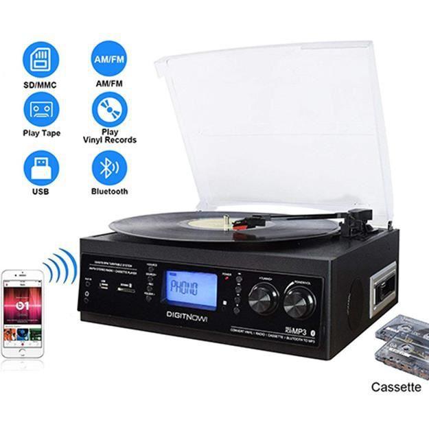 DIGITNOW! Platine Vinyle Bluetooth USB mp3 et Fonction Encodage Classique avec Cassette Radio 33/45/78 RPM Haut-parleurs Intégrés