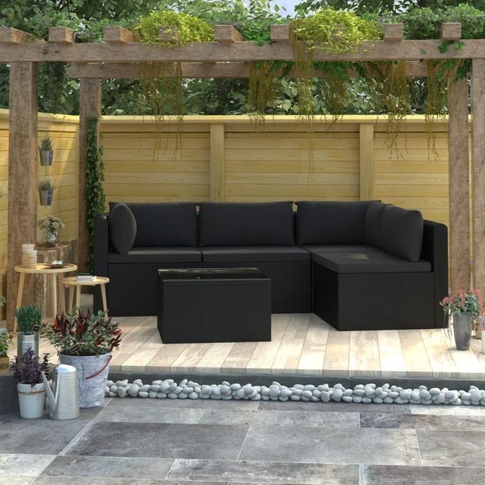KING-Salon de jardin 5 pcs avec coussins Résine tressée Noir durable, robuste et résistant aux intempéries