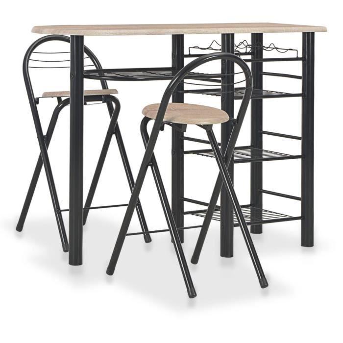 Ensemble table de bar + 2 tabourets, étagères - Style industriel - 117 x 40 x 85 cm - Bois et acier#7636