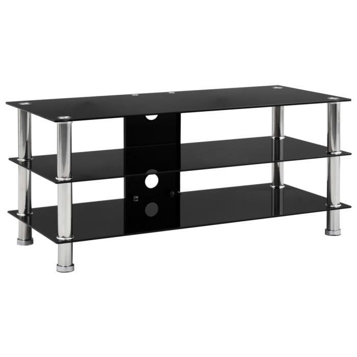 ❤Moderne Meuble tv Mode - Armoire de rangement Meuble HI-FI Noir 90 x 40 x 40 cm Verre trempé ��78602