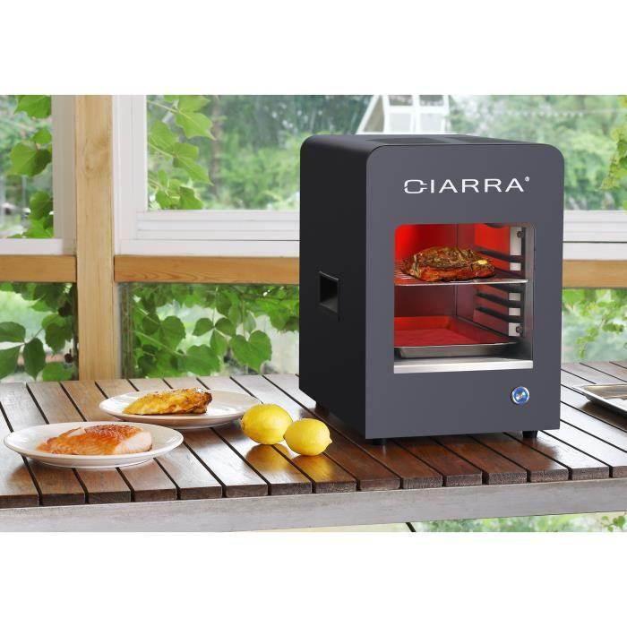 CIARRA CBBBEF04A1 Grill Barbucue Electrique 2200W - 850 degres - 6 Niveaux - Grille - 2 Plateaux - Noir -Inox