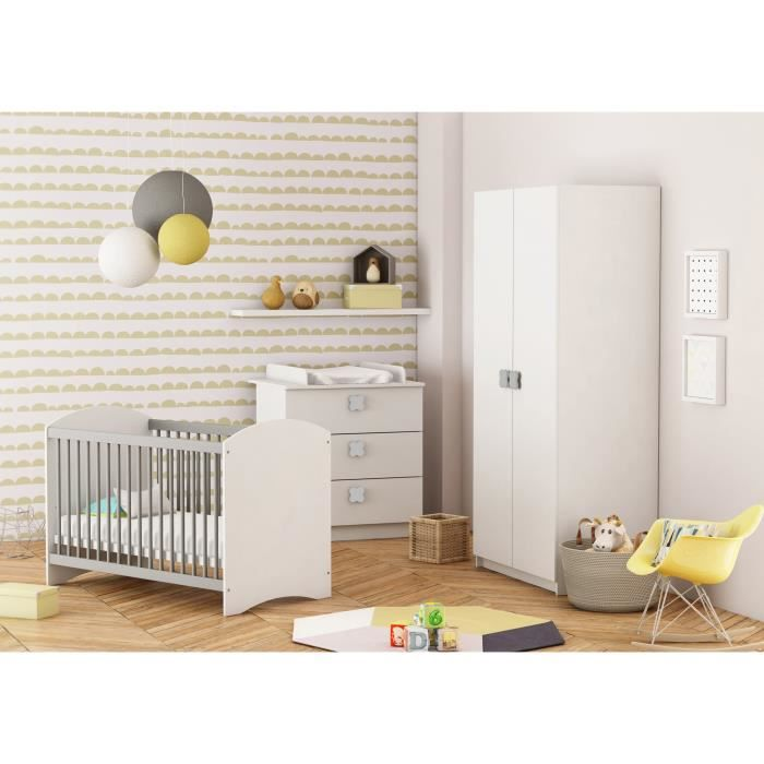 CLOVER Chambre Bébé Complète : Lit 60x120 cm + Armoire + Commode à Langer