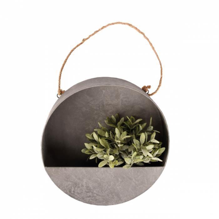 Arrosage et jardinage - Jardinière murale ronde L - D 35 x P 10,6 cm - Zinc 35 cm Gris