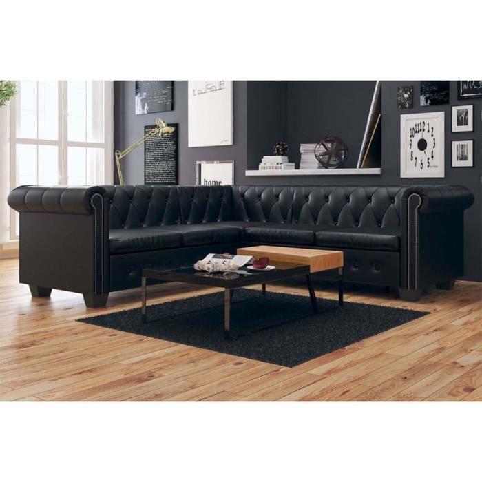 Canapé d'angle 5 places Noir Cuir Chesterfield