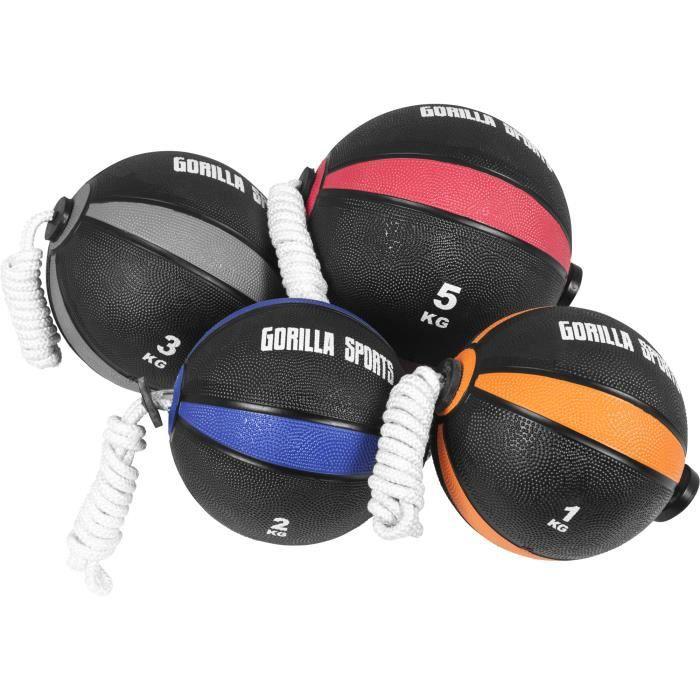 Lot de 4 Tornado Balls, 4 ballons d'exercice avec corde (1 KG, 2 KG, 3 KG et 5 KG)