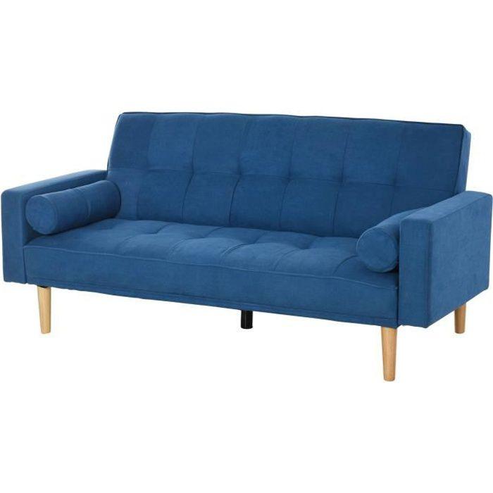 Canapé convertible 3 places design scandinave dossier inclinable 3 positions pieds bois tissu lin bleu 186x84x85cm Bleu