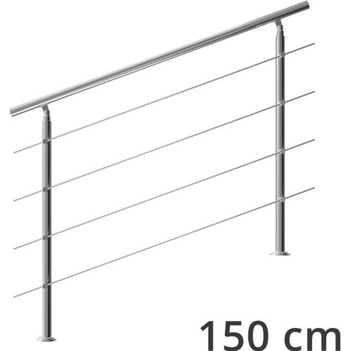 Rampe d'escalier 150 cm acier inoxydable 4 traverses main courante balustrade garde-corps aide escalier balcon intérieur extérieur