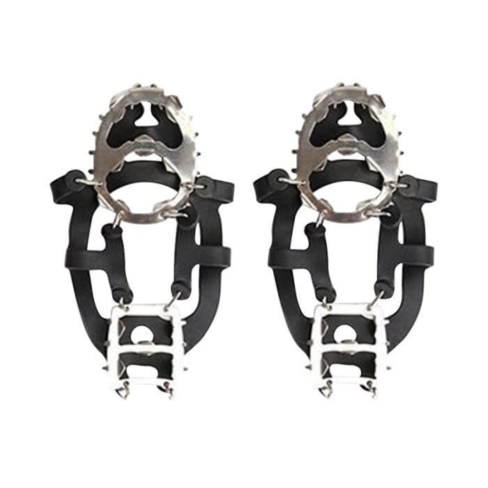 1 paire de crampons 18 dents Durable pratique de protection professionnelle pointes glace neige poignées CHAUSSURES DE RANDONNEE