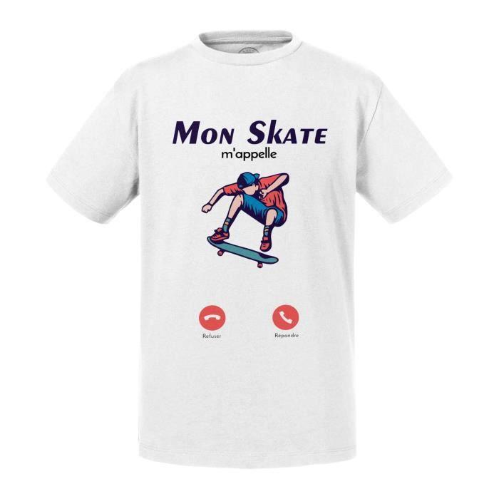 T-shirt Enfant Blanc Mon Skate M'Appelle Passion Culture