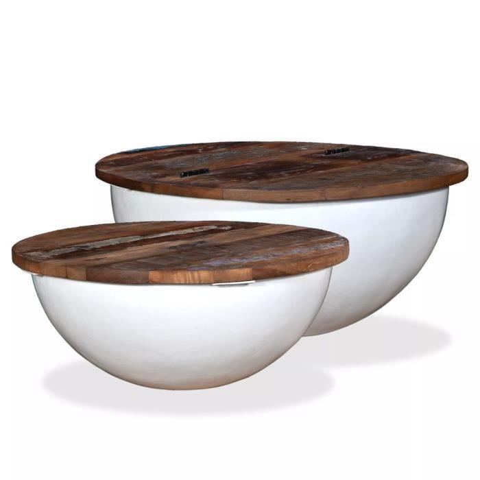 Table basse design scandinave salon contemporain 2 pcs Bois de récupération massif blanc forme bol