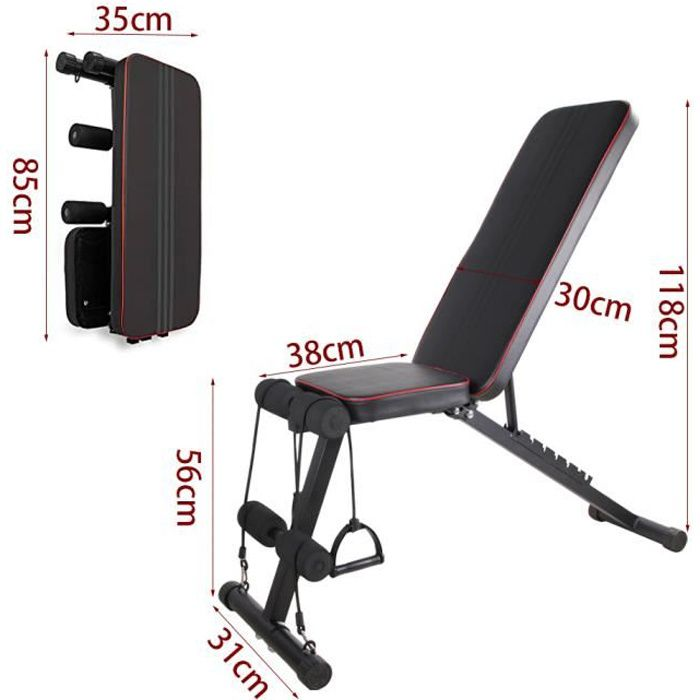 Banc de Poids réglable,Banc de Musculation pour l'entraînement ,Banc inclinable en 7 Positions Pliable Max 300KG
