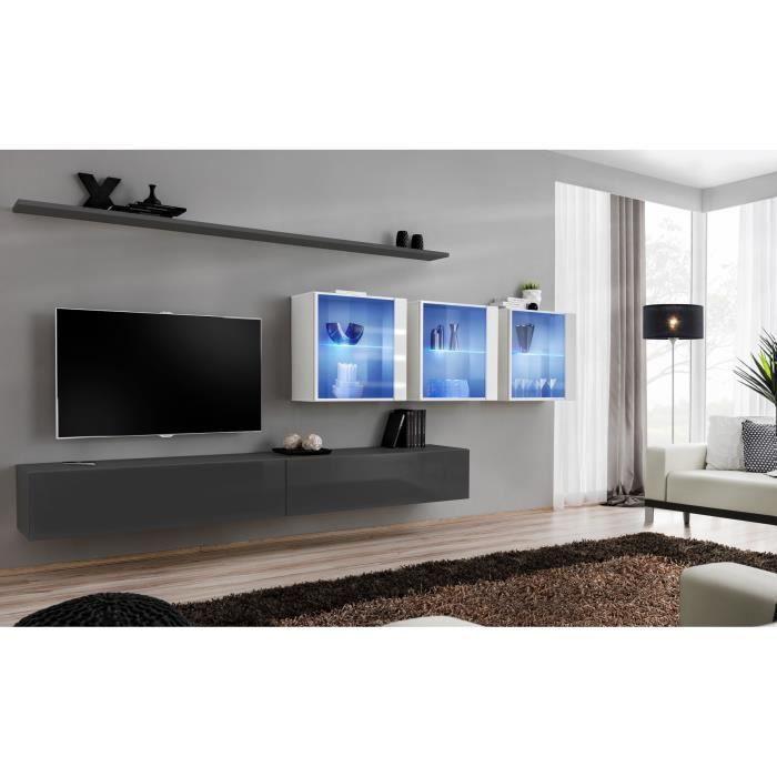 Ensemble meuble salon mural SWITCH XVII design, coloris gris et blanc brillant. 40 Gris
