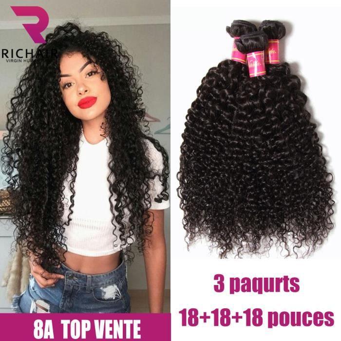 3 tissages bresiliens en lot kinky curly 18+18+18 pouces cheveux vierges huamins naturels RICHAIR