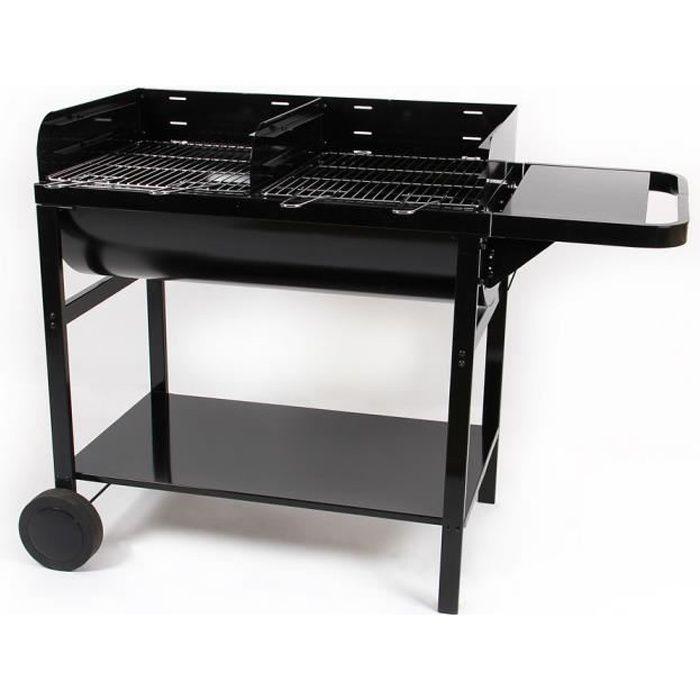 Barbecue charbon sur chariot cuve acier 20 pers 85,5 x 47,5 cm JUMBO