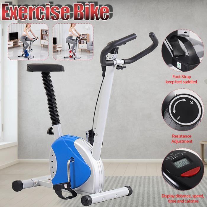 TEMPSA Vélo d'Appartement LED Gym à Domicile avec le Moniteur d'Affichage à Cristaux Liquides BLEU