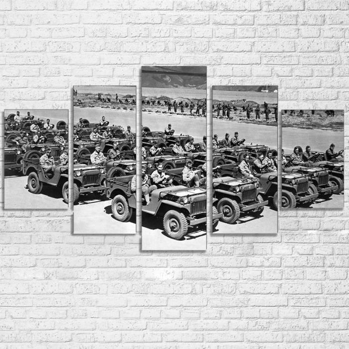 TABLEAU - TOILE toile tableaux imprimés 5 pièces soldats voitures