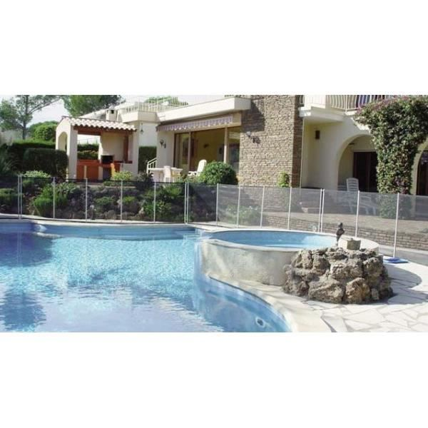 Barriere de piscine beethoven noire avec piquets anodis s for Barriere piscine souple