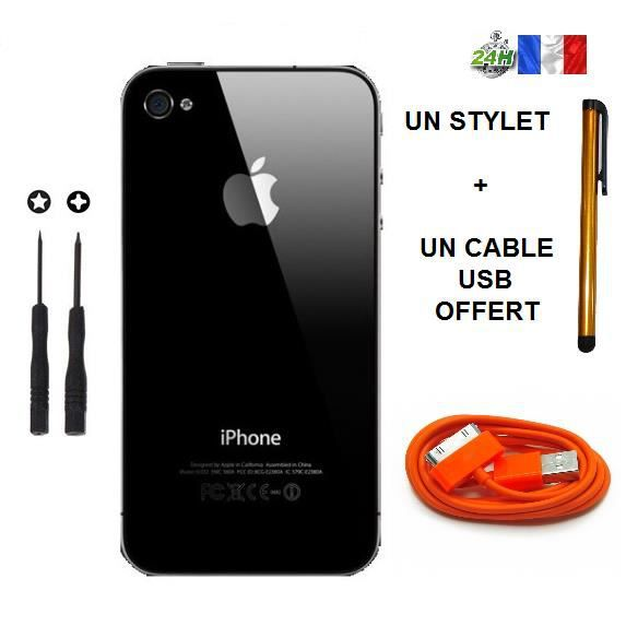 vitre arriere iphone 4 noir cable usb orange 2 tournevis pentalobe crusiforme stylet apple. Black Bedroom Furniture Sets. Home Design Ideas
