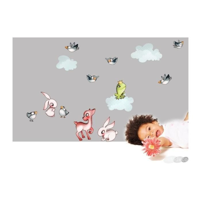 sticker chambre d 39 enfant les animaux de la for t achat vente stickers cdiscount. Black Bedroom Furniture Sets. Home Design Ideas