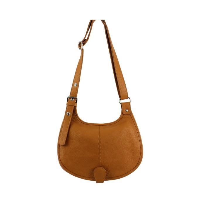 Sac bandouliere cuir femme Paolina Italie - Couleur:Camel clair ...