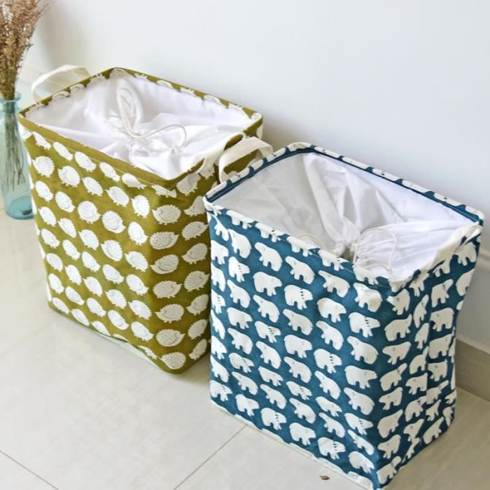 panier linge pliable en tissu motif petit ours naturel bleu achat vente panier a linge. Black Bedroom Furniture Sets. Home Design Ideas