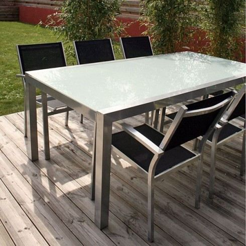 table de jardin aluminium et verre. Black Bedroom Furniture Sets. Home Design Ideas