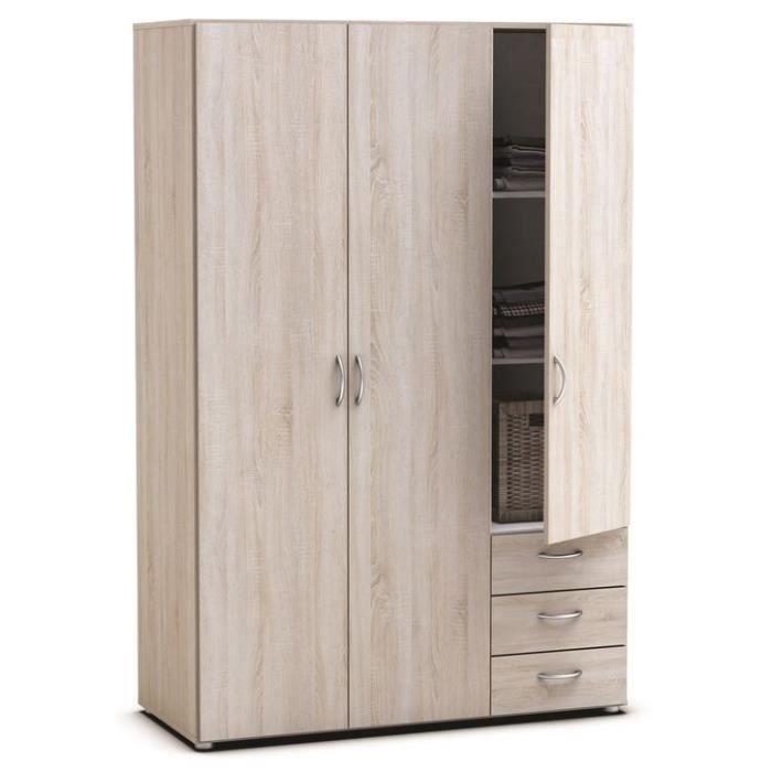 Armoires 3 portes 3 tiroirs lol3 ch ne achat vente for Armoire chambre soldes