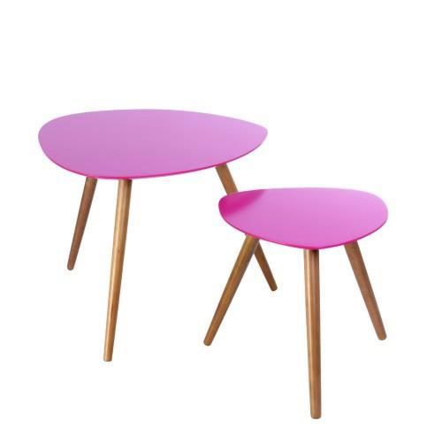 Tables basses mileo set de 2 rose achat vente table - Table basse rose ...