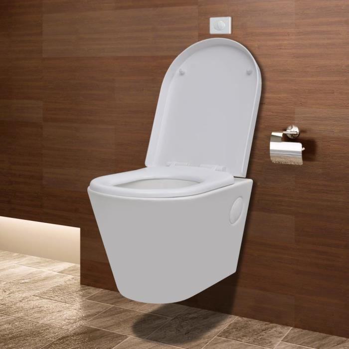 Toilette suspendue au mur avec réservoir caché Céramique ...