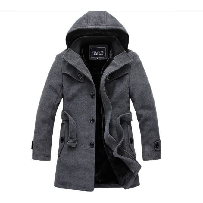 long manteau homme duffle coat veste eric gris achat vente manteau caban cdiscount. Black Bedroom Furniture Sets. Home Design Ideas