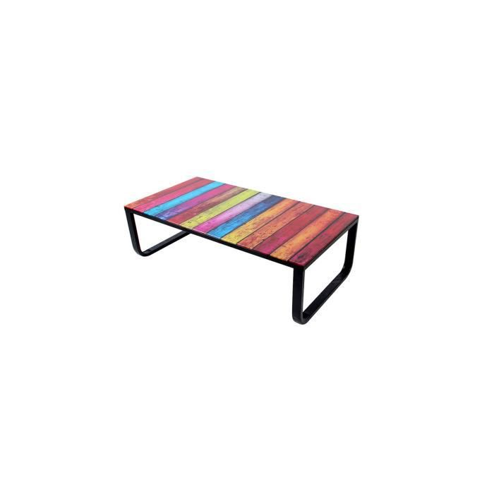 Table basse avec plateau verre multicolore rainbow achat vente table bass - Table basse multicolore ...