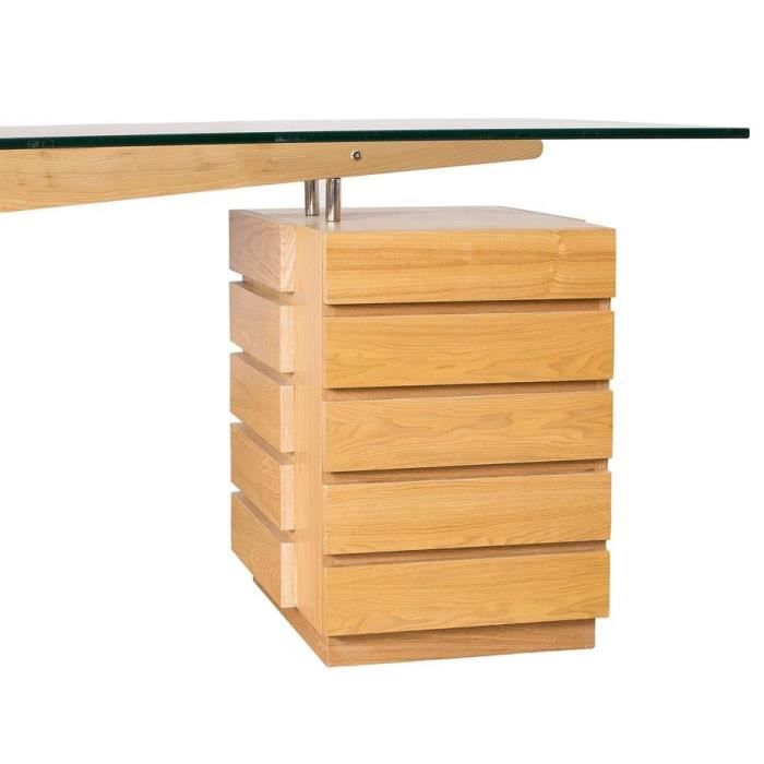 Table de bureau flash avec tiroirs et table en verre frene for Table de bureau