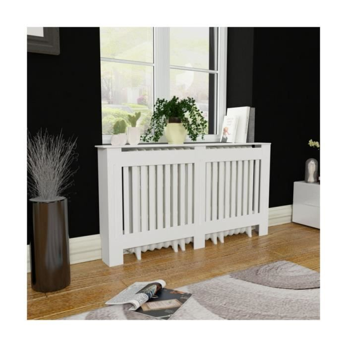 cache radiateur blanc mdf 152 cm. Black Bedroom Furniture Sets. Home Design Ideas
