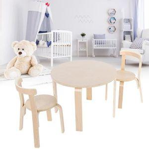 TABLE ET CHAISE Ensemble de table et 2 chaises en bois massif pour