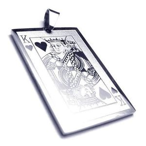 PENDENTIF VENDU SEUL Pendentif homme acier inoxydable carte poker roi d