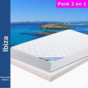 ENSEMBLE LITERIE Ibiza - Pack Matelas + Tapissier 140x190