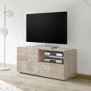 MEUBLE TV Petit meuble TV 120 cm contemporain chêne clair EL