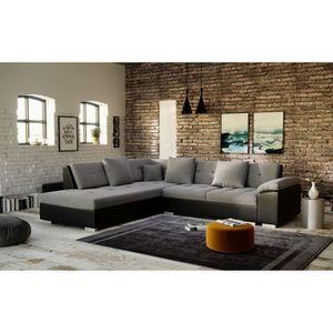 CANAPÉ - SOFA - DIVAN PORTOS - canapé d'angle _ angle gauche - gris noir