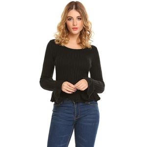 PULL chandail femme col O en tricot d'automne Femmes Ca