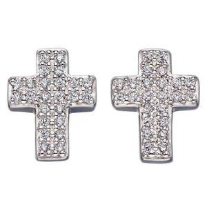 Boucle d'oreille Mon-bijou - D5650 - Boucle d'oreille croix en arge