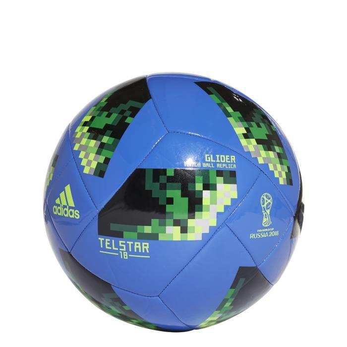 Ballon adidas FIFA World Cup Glider 2018 - bleu foncé/vert fluo/argent - Taille 5