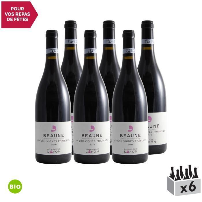 Beaune 1er Cru Les Vignes Franches Rouge 2016 - Bio - Lot de 6x75cl - Dominique Lafon - Vin AOC Rouge de Bourgogne - Cépage Pinot