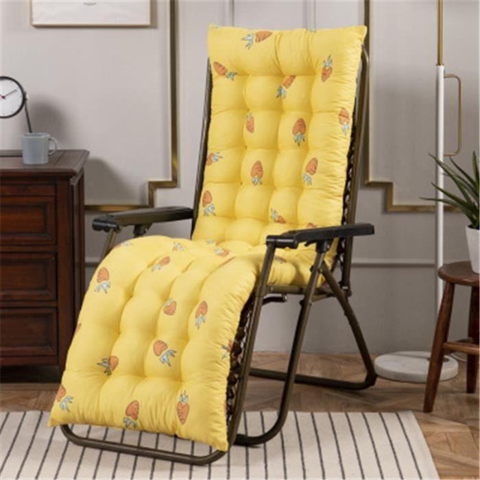 Coussin Bain de Soleil Jardin Pliable Anti-Dérapant Coussin Chaise Longue Epais Confort,48x155cm,jaune