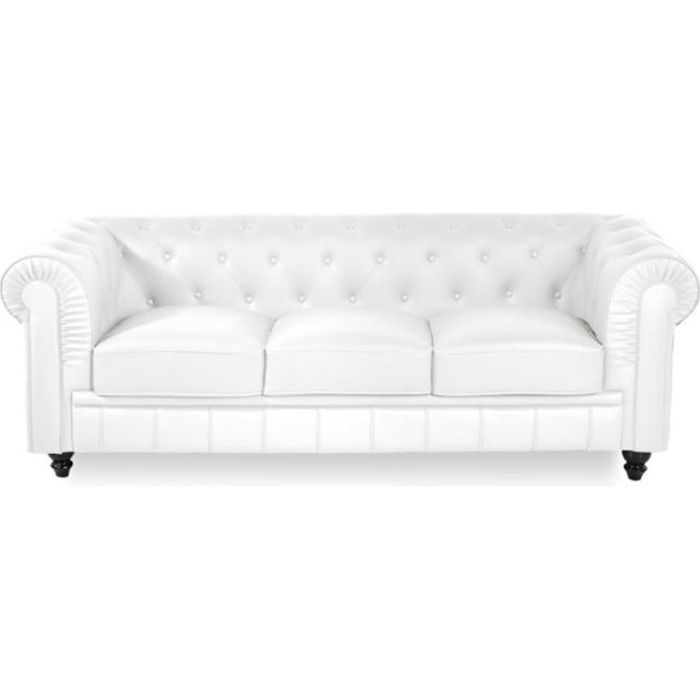 Canapé Chesterfield 3 places - PU Blanc