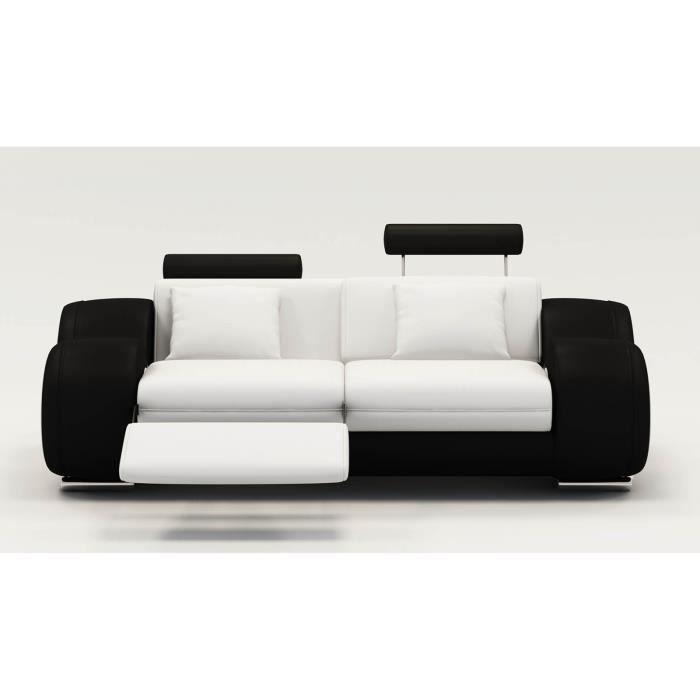 DYDDA - Canapé 2 places relax en cuir blanc et noir