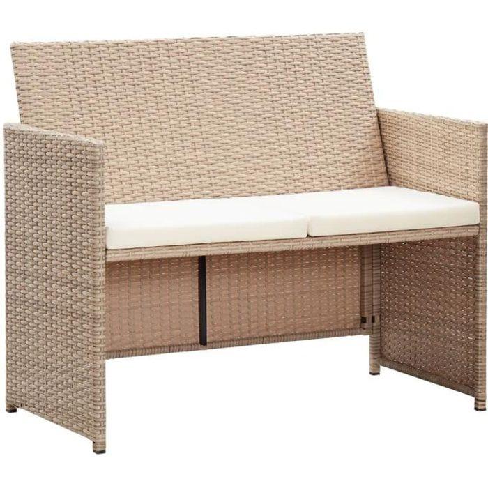 Magnifique - Canapé de jardin à 2 places - Sofa Divan Banquette de jardin Canapé avec coussins Beige Résine tressée