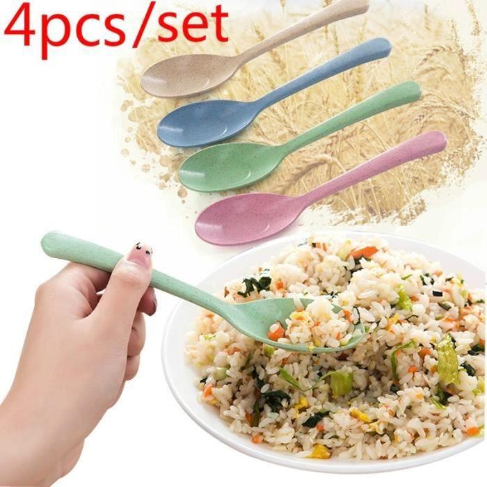 4pcs 4pc - set ustensiles de cuisine en plastique cuillère à soupe épaisse cuillère de riz à la maison à long manche paille de blé