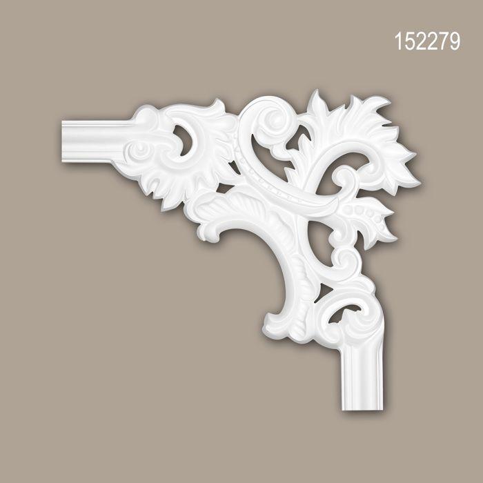 Élément de coin 152279 Profhome Élement décorative style Rococo-Baroque blanc.