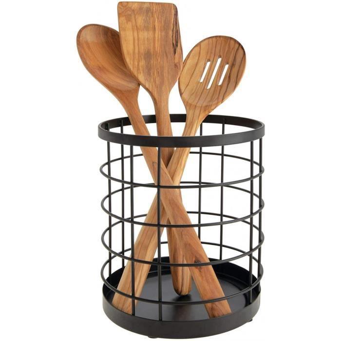 boite de rangement pour ustensiles de cuisine sur le plan de travail, range couverts rond en métal, bac à couverts, noir mat