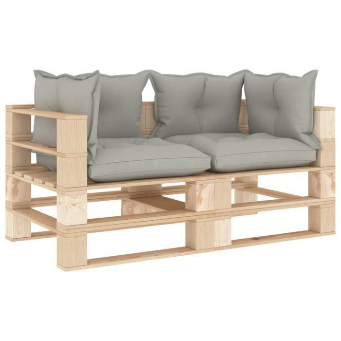 Luxueux Magnifique-Canapé palette à 2 places de jardin Jardin Patio Extérieur Salon avec coussins taupe Bois